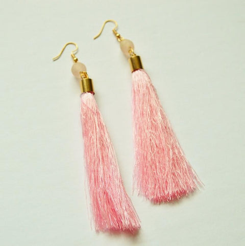 Shantel | Fringe Dangle Earrings | Pink - Alora Boutique