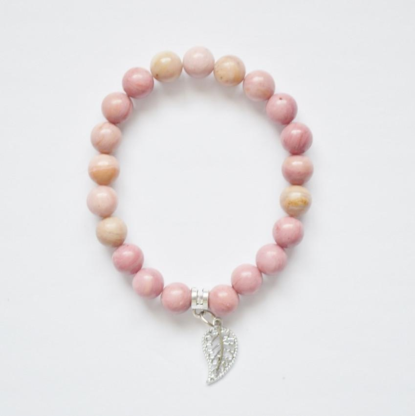 Bravery, Compassion and Forgiveness | Beaded Stretch Bracelet | Rhodonite Gemstone - Alora Boutique - Jewelry with meaning that gives back fashion for good