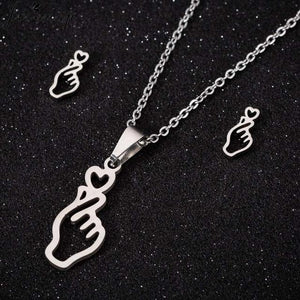 'I Love You' Heart Jewelry Set - Earrings and Necklace