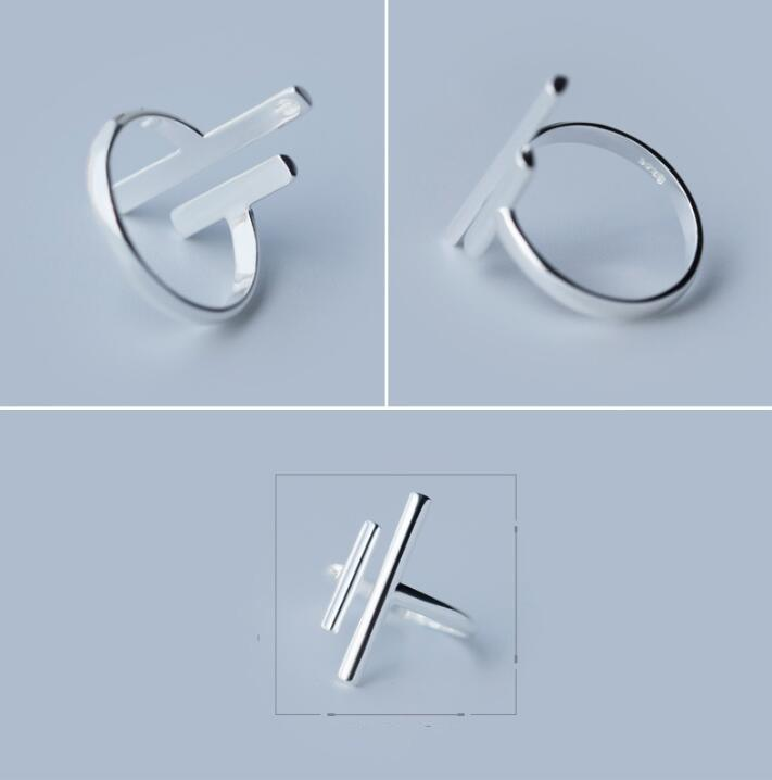 Double Bar - Silver Minimalist Ring Rings Alora Boutique