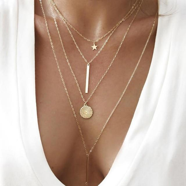 Minimalist Multi-Layered Pendant Necklaces - 7+ Styles Alora Boutique Bar Lariat