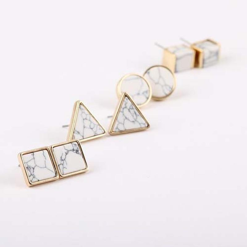 'Jenna' Marbled Geometric Stud Earrings Earrings Alora Boutique