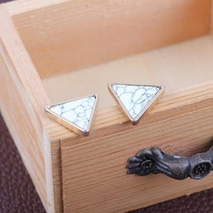 'Jenna' Marbled Geometric Stud Earrings Earrings Alora Boutique Triangle