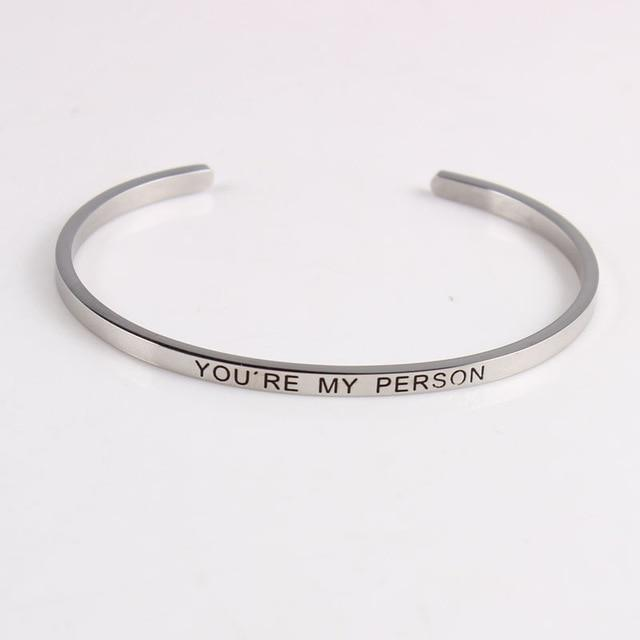 YOU'RE MY PERSON || Inspirational Quotes || Cuff Mantra Bracelets DS