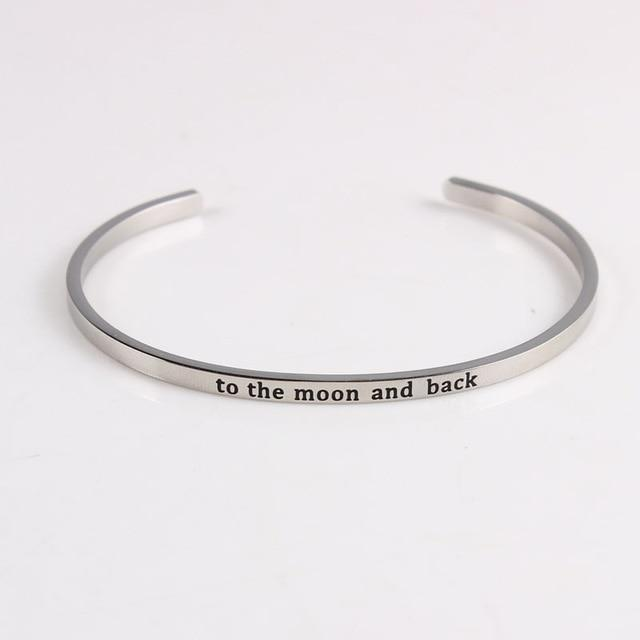 MOON AND BACK || Inspirational Quotes || Cuff Mantra Bracelets Alora Boutique