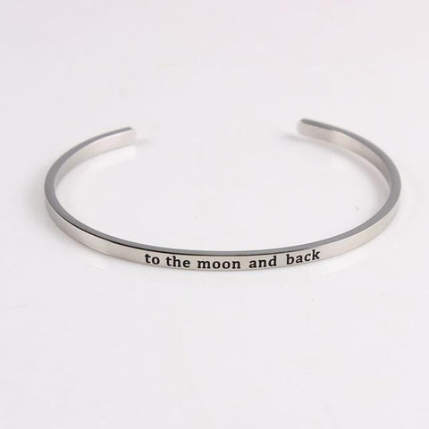 MOON AND BACK || Inspirational Quotes || Cuff Mantra Bracelets - Alora Boutique - Jewelry with meaning that gives back fashion for good