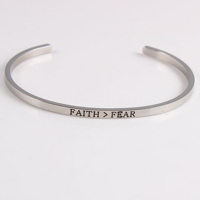 FAITH OVER FEAR || Inspirational Quotes || Cuff Mantra Bracelets - Alora Boutique - Jewelry with meaning that gives back fashion for good