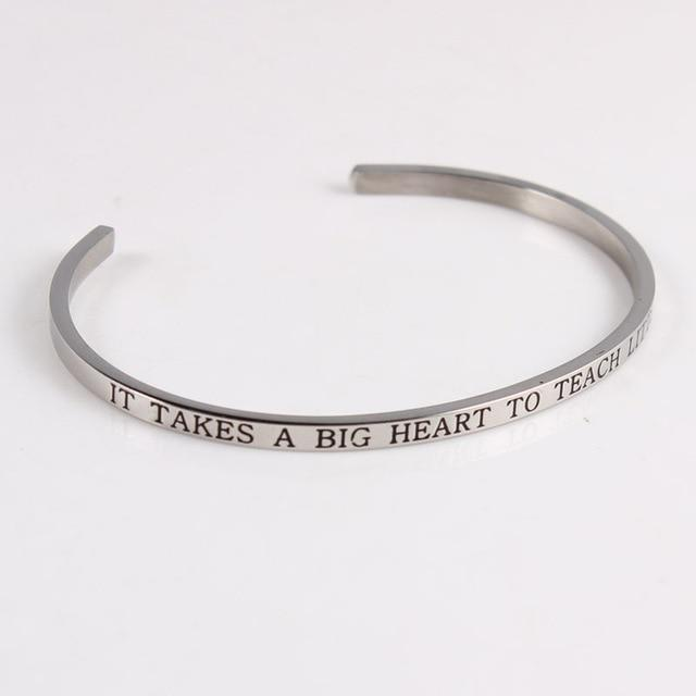 BIG HEART TO TEACH || Inspirational Quotes || Cuff Mantra Bracelets - Alora Boutique - Jewelry with meaning that gives back fashion for good