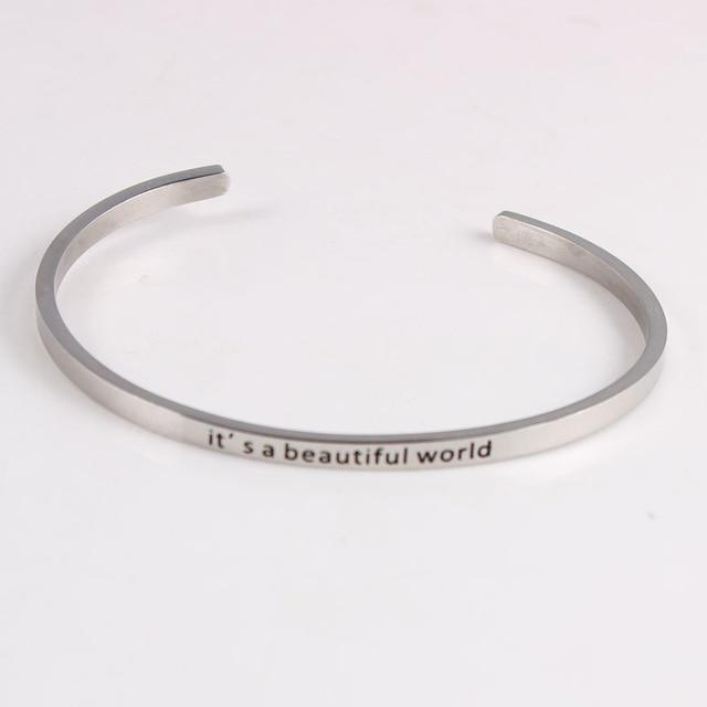 BEAUTIFUL WORLD || Inspirational Quotes || Cuff Mantra Bracelets Alora Boutique