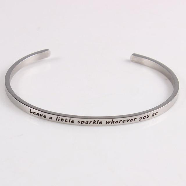 LEAVE A LITTLE SPARKLE || Inspirational Quotes || Cuff Mantra Bracelets Alora Boutique