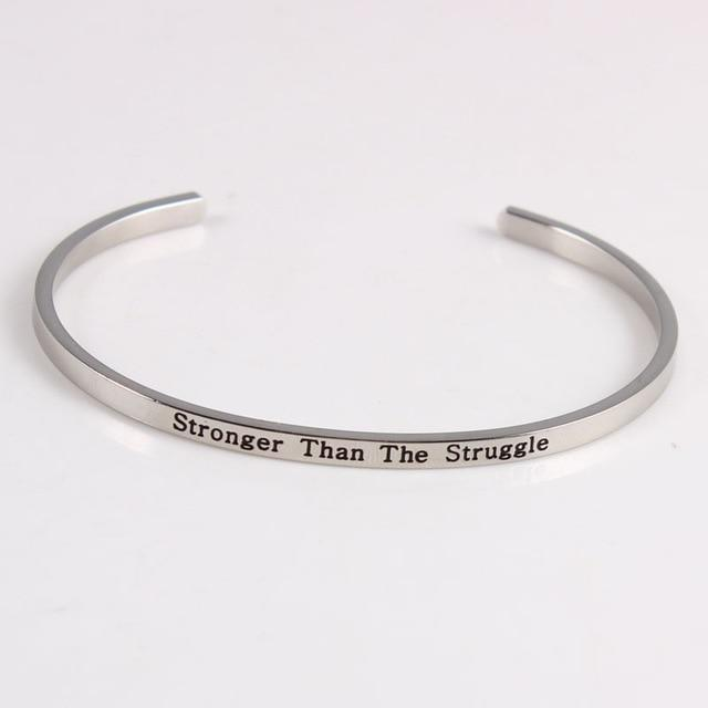 STRONGER THAN THE STRUGGLE || Inspirational Quotes || Cuff Mantra Bracelets Alora Boutique