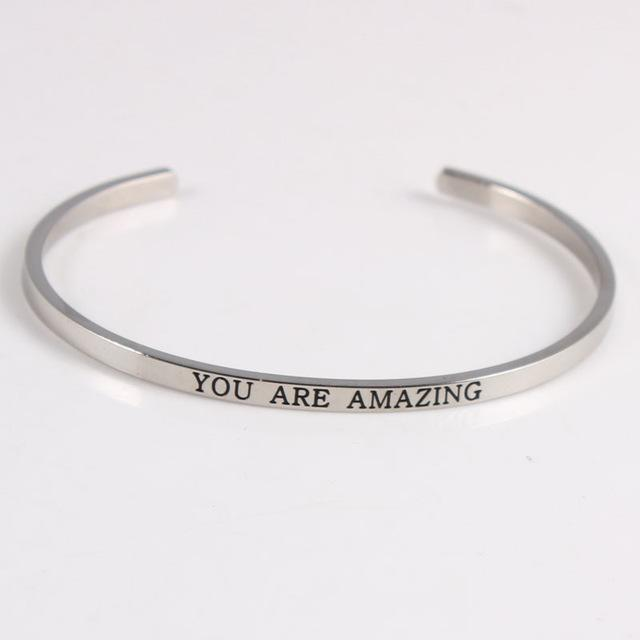 YOU ARE AMAZING || Inspirational Quotes || Cuff Mantra Bracelets DS
