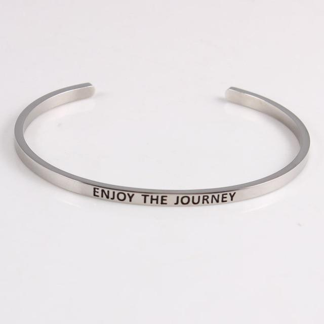 ENJOY THE JOURNEY || Inspirational Quotes || Cuff Mantra Bracelets - Alora Boutique - Jewelry with meaning that gives back fashion for good