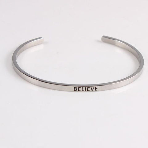 BELIEVE || Inspirational Quotes || Cuff Mantra Bracelets - Alora Boutique - Jewelry with meaning that gives back fashion for good