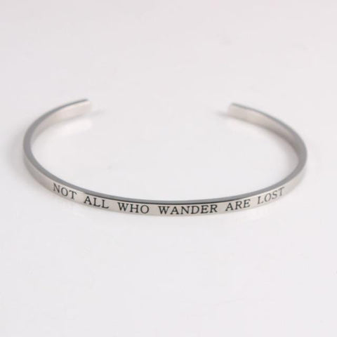 NOT ALL WHO WANDER ARE LOST || Inspirational Quotes || Cuff Mantra Bracelets - Alora Boutique - Jewelry with meaning that gives back fashion for good