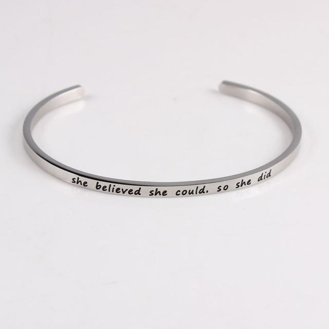 SHE BELIEVED SHE COULD, SO SHE DID || Inspirational Quotes || Cuff Mantra Bracelets