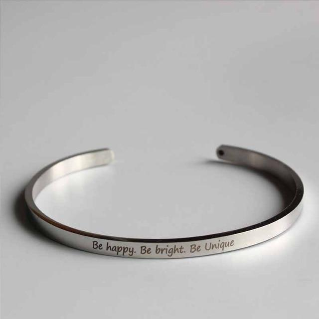 BE HAPPY. BE BRIGHT || Buddhism Quotes || Cuff Mantra Bracelets || Intentional Jewelry - Alora Boutique - Jewelry with meaning that gives back fashion for good