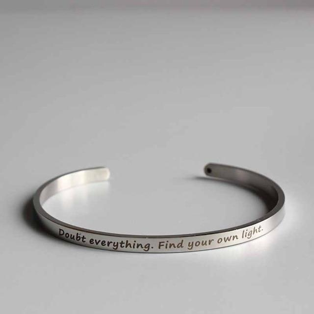 DOUBT EVERYTHING || Buddhism Quotes || Cuff Mantra Bracelets || Intentional Jewelry Alora Boutique