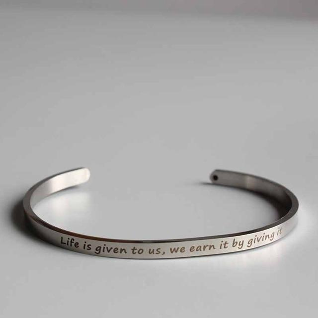LIFE IS GIVEN || Buddhism Quotes || Cuff Mantra Bracelets || Intentional Jewelry - Alora Boutique - Jewelry with meaning that gives back fashion for good