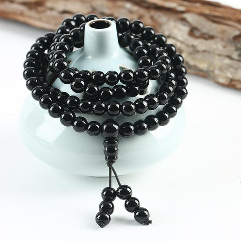 Mala Nacklace Calgary Canada - Obsidian - Alora Boutique - Jewelry with meaning that gives back fashion for good