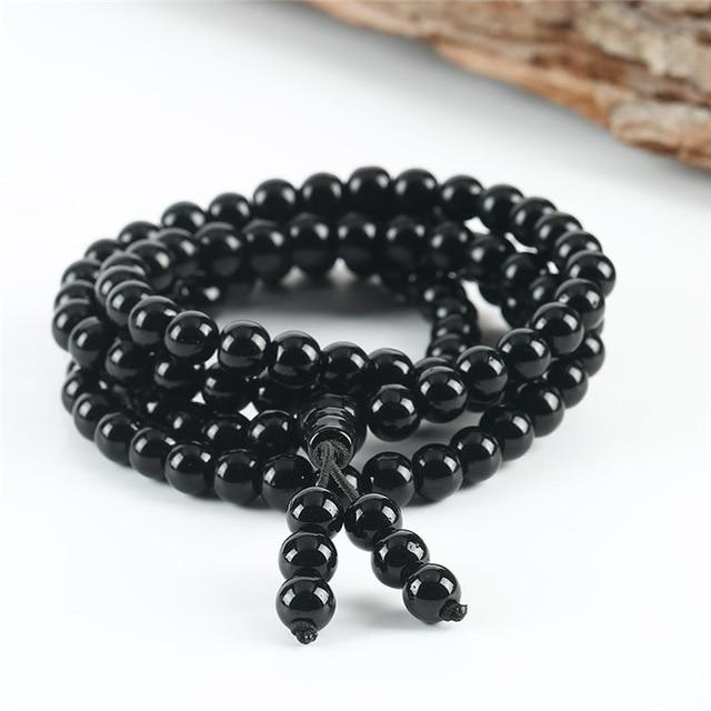 Mala Necklace Calgary Canada - Obsidian Gemstone Jewelry Alora Boutique 6mm beads