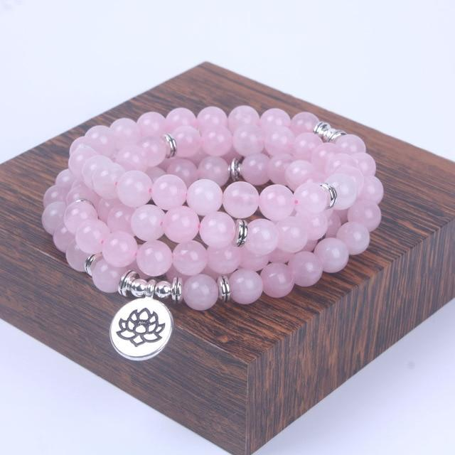 Mala Necklace Calgary Canada - Rose Quartz Necklaces Alora Boutique Lotus