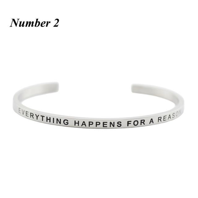 EVERYTHING HAPPENS FOR A REASON || Inspirational Quote Cuff Jewelry || Mantra Bracelet Gifts