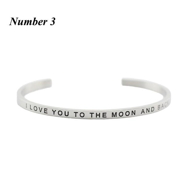 I LOVE YOU TO THE MOON AND BACK || Inspirational Quote Cuff Jewelry || Mantra Bracelet Gifts Alora Boutique