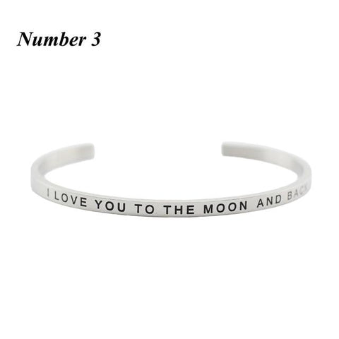 I LOVE YOU TO THE MOON AND BACK || Inspirational Quote Cuff Jewelry || Mantra Bracelet Gifts - Alora Boutique - Jewelry with meaning that gives back fashion for good