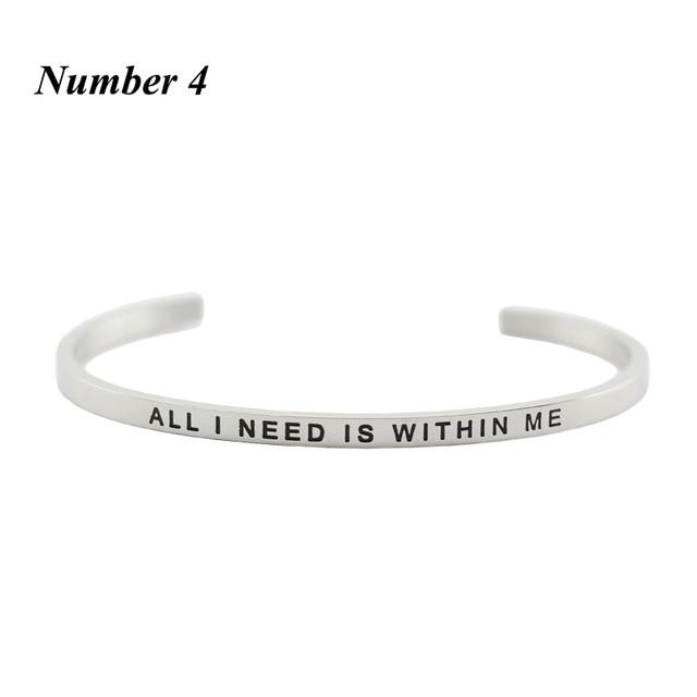 WITHIN ME || Inspirational Quote Cuff Jewelry || Mantra Bracelet Gifts DS