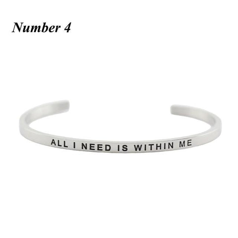 WITHIN ME || Inspirational Quote Cuff Jewelry || Mantra Bracelet Gifts