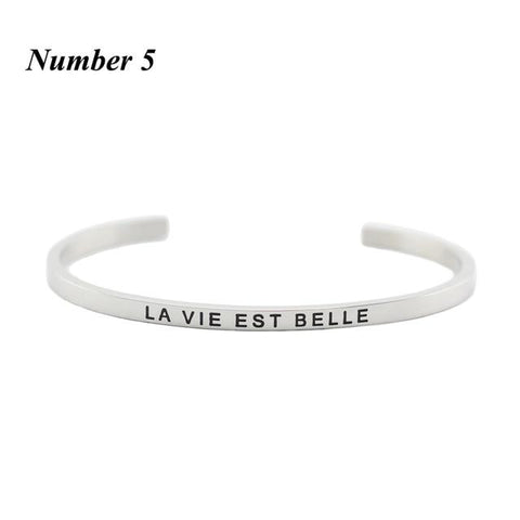 LA VIE EST BELLE || Inspirational Quote Cuff Jewelry || Mantra Bracelet Gifts - Alora Boutique - Jewelry with meaning that gives back fashion for good