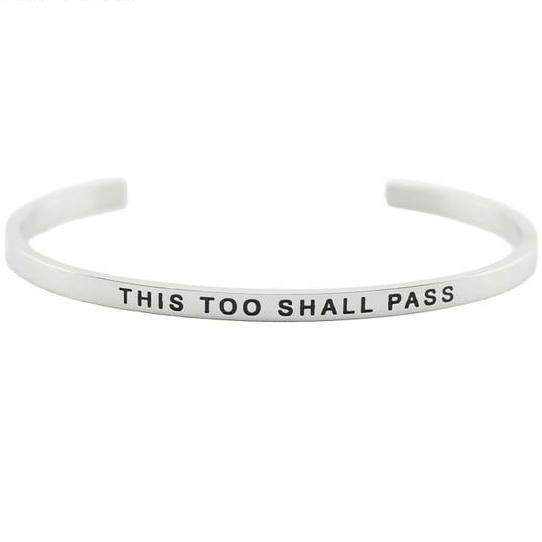 THIS TOO SHALL PASS || Inspirational Quote Cuff Jewelry || Mantra Bracelet Gifts Alora Boutique