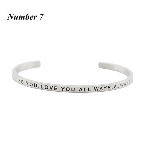 BE YOU. LOVE YOU. ALWAYS || Inspirational Quote Cuff Jewelry || Mantra Bracelet Gifts - Alora Boutique - Jewelry with meaning that gives back fashion for good