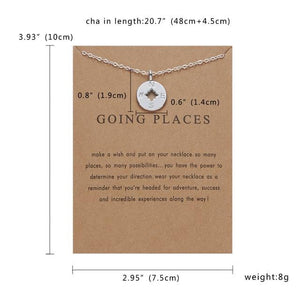 Meaningful Jewelry Gifts - Compass Necklace ' Going Places' Pendant Neckalce With Meaning Card