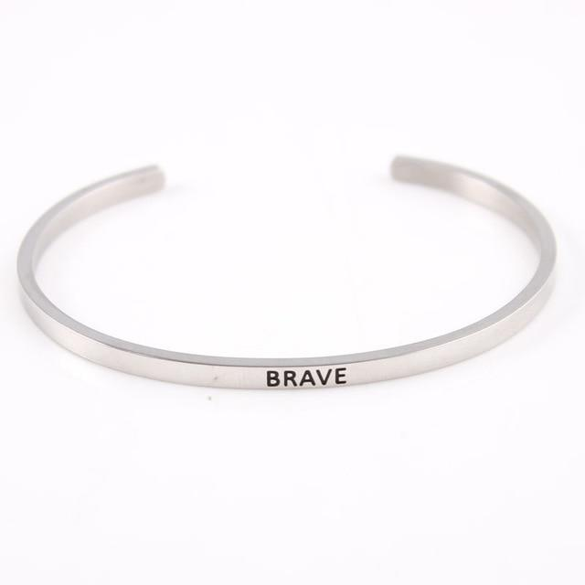 BRAVE || Inspirational Quote Jewelry || Cuff Mantra Bracelet Bangle || Gifts for Her Alora Boutique
