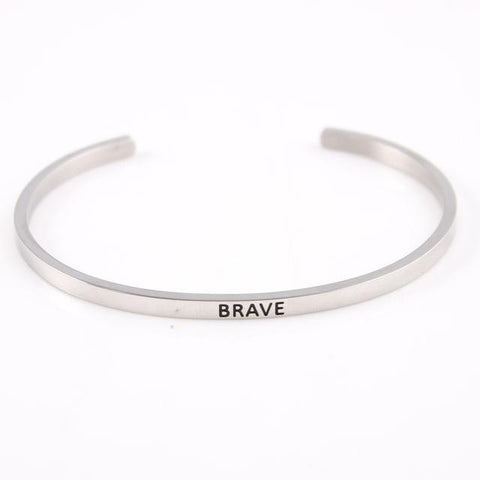 BRAVE || Inspirational Quote Jewelry || Cuff Mantra Bracelet Bangle || Gifts for Her - Alora Boutique - Jewelry with meaning that gives back fashion for good