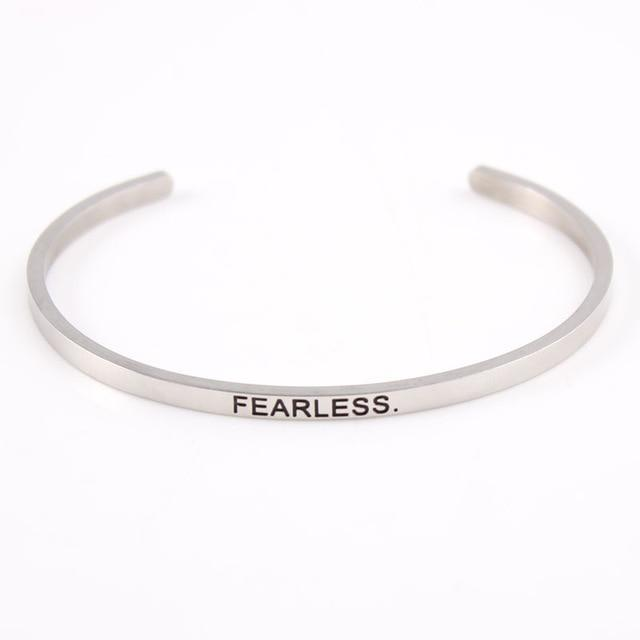 FEARLESS || Inspirational Quote Jewelry || Cuff Mantra Bracelet Bangle || Gifts for Her - Alora Boutique - Jewelry with meaning that gives back fashion for good