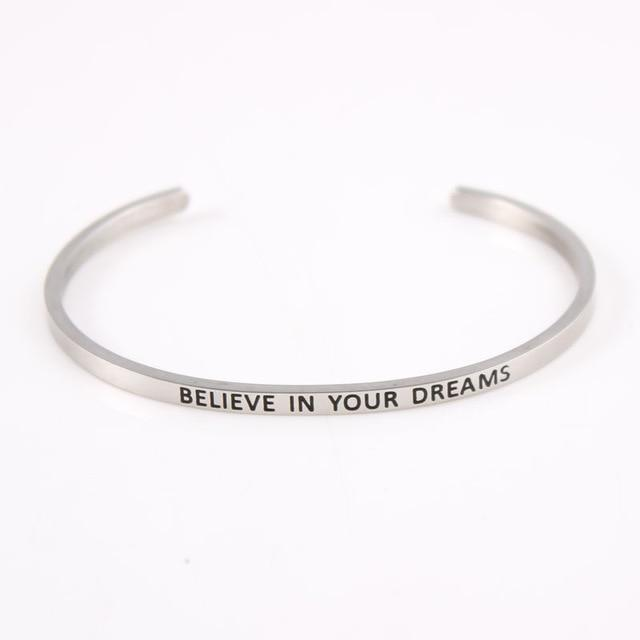 BELIEVE IN YOUR DREAMS || Inspirational Quote Jewelry || Cuff Mantra Bracelet Bangle || Gifts for Her Bracelets Alora Boutique