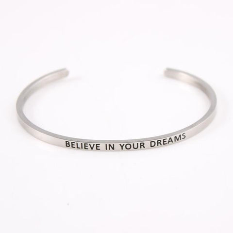 BELIEVE IN YOUR DREAMS || Inspirational Quote Jewelry || Cuff Mantra Bracelet Bangle || Gifts for Her - Alora Boutique - Jewelry with meaning that gives back fashion for good