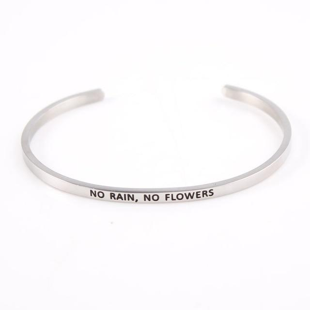 NO RAIN, NO FLOWERS || Inspirational Quote Jewelry || Cuff Mantra Bracelet Bangle || Gifts for Her - Alora Boutique - Jewelry with meaning that gives back fashion for good