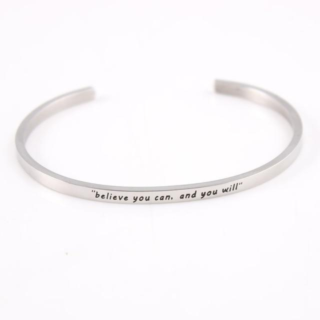 BELIEVE YOU CAN || Inspirational Quote Jewelry || Cuff Mantra Bracelet Bangle || Gifts for Her - Alora Boutique - Jewelry with meaning that gives back fashion for good