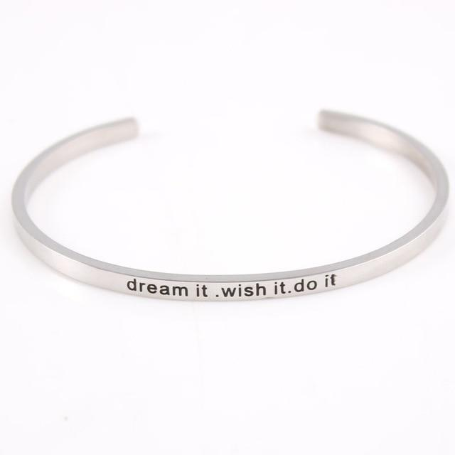 DREAM IT. WISH IT. DO IT. || Inspirational Quote Jewelry || Cuff Mantra Bracelet Bangle || Gifts for Her - Alora Boutique - Jewelry with meaning that gives back fashion for good