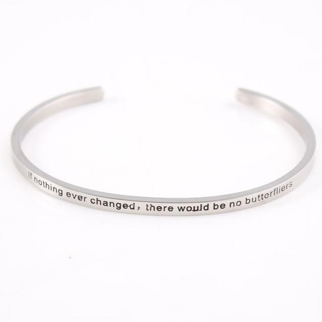 CHANGE || Inspirational Quote Jewelry || Cuff Mantra Bracelet Bangle || Gifts for Her - Alora Boutique - Jewelry with meaning that gives back fashion for good