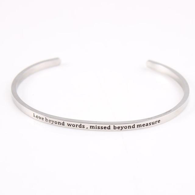 BEYOND WORDS || Inspirational Quote Jewelry || Cuff Mantra Bracelet Bangle || Gifts for Her - Alora Boutique - Jewelry with meaning that gives back fashion for good