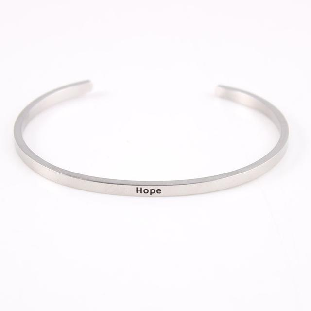 HOPE || Inspirational Quote Jewelry || Cuff Mantra Bracelet Bangle || Gifts for Her Alora Boutique