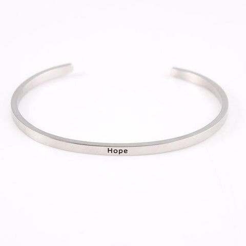 HOPE || Inspirational Quote Jewelry || Cuff Mantra Bracelet Bangle || Gifts for Her - Alora Boutique - Jewelry with meaning that gives back fashion for good
