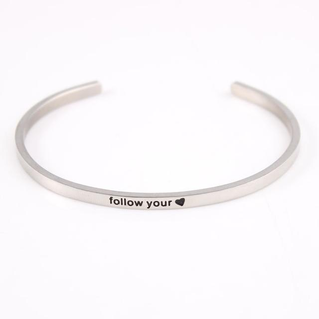 FOLLOW YOUR HEART || Inspirational Quote Jewelry || Cuff Mantra Bracelet Bangle || Gifts for Her Alora Boutique