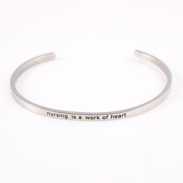 NURSING || Inspirational Quote Jewelry || Cuff Mantra Bracelet Bangle || Gifts for Her - Alora Boutique - Jewelry with meaning that gives back fashion for good