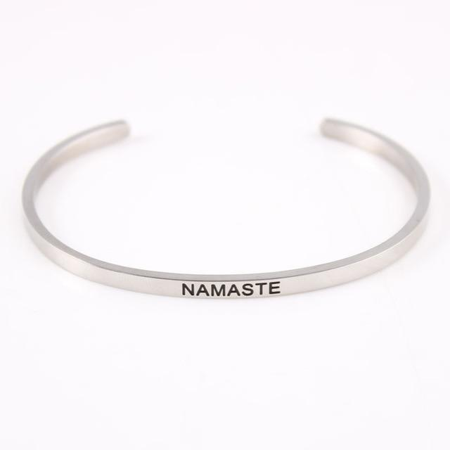 NAMASTE || Inspirational Quote Jewelry || Cuff Mantra Bracelet Bangle || Gifts for Her Alora Boutique